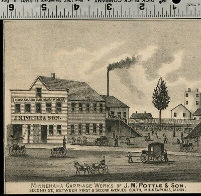 Carriage Works in Minneapolis, Minnesota: Authentic 1874 View JM Pottle & Son