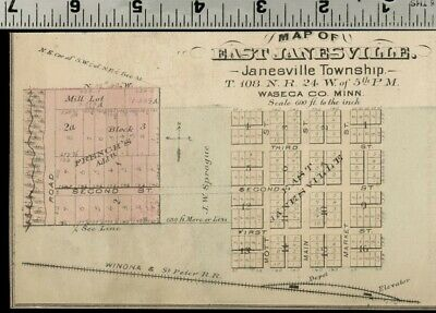 East Janesville Minnesota: Authentic 1874 Hand Colored Street Map
