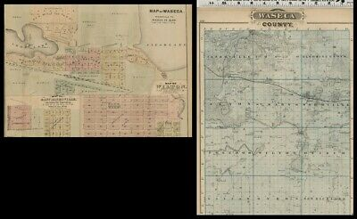 Waseca, Wilton & E Janesville, MN Street Maps Plus Waseca County Authentic 1874