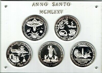 Vatican City 5-Medal Silver Proof Set 1975 In Custom Case Nice