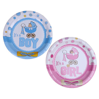 8pcs Baby shower paper plates disposable paper dishes for gender reveal party.