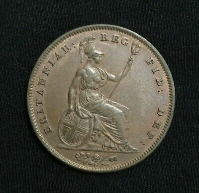 1841 Great Britain Penny Coin ... Britania Seated.. Queen Victoria EF+