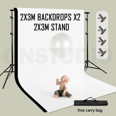 Photography Studio 2x3m White Black Background With Backdrop Support Stand Kit