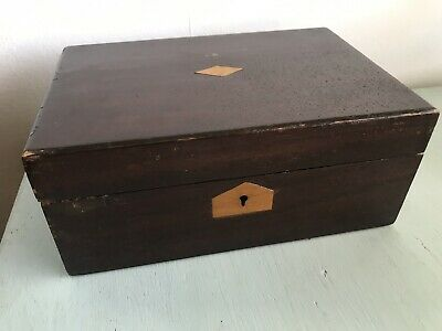 Vintage Antique Victorian Wooden Jewellery Box Sewing Box