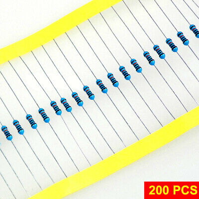 1 Pack 200Pcs 1/4w Resistance 1% Metal Film Resistor Resistance Assortment