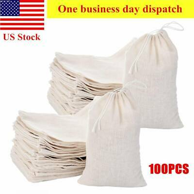 100 Pieces Drawstring Cotton Bags Muslin Bags Large Spice Herbs Tea Bag White