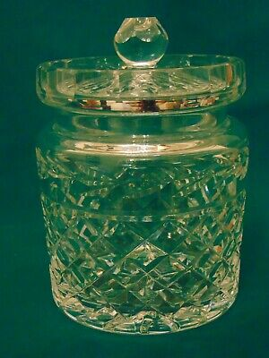 VINTAGE WATERFORD CRYSTAL GLANDORE BISCUIT BARREL COOKIE JAR w/ LID  MINT
