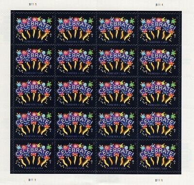 One Sheet Of 20 Neon Celebrate Usps First Class Forever Postage Stamps