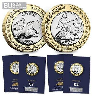 New twinpack 2019 IOM TT Races Steve Hislop £2 coins (Pack of 2)