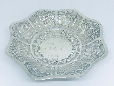 Asian solid silver Tray or bowl  , marked 900 ( 90% solid silver)