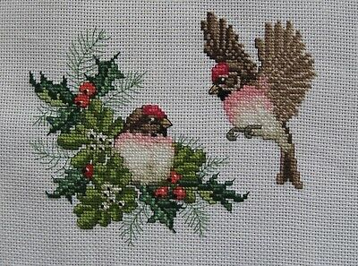 Handmade Counted Cross Stitch Chickadees and Holly Branch, Unframed