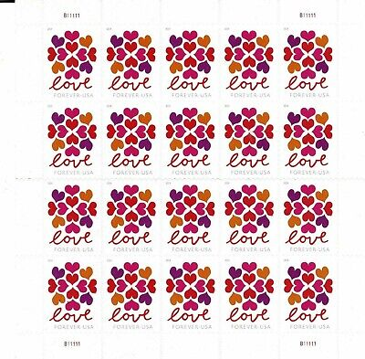 One Sheet Of 20 Hearts Blossom Usps First Class Forever Postage Stamps