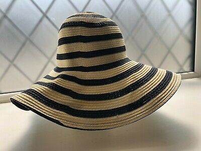 Joules white and navy stripe floppy wide brimmed sun summer hat one size