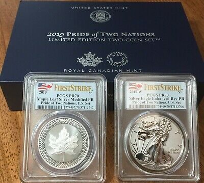 2019 PCGS PR70 PRIDE OF TWO NATIONS Silver Eagle & Maple First Strike w/OGP
