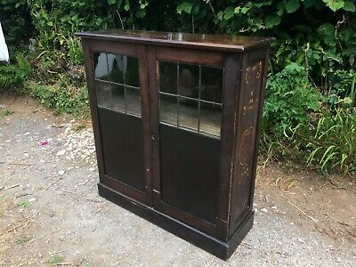 "ANTIQUE OAK BOOKCASE 40""W LEADED GLASS DOORS. OLD 1920s STENCILLING. STURDY"