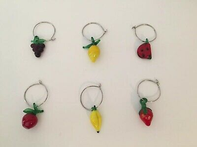 Wine Glass Charms Glass Fruits Set Of 6 Miniature Fruit Wine Charms