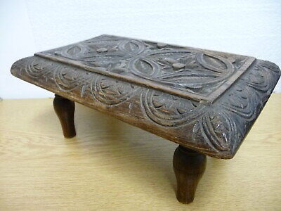 Small Antique English Carved Oak Footstool,19th Century ,Antique Footstool,Wood