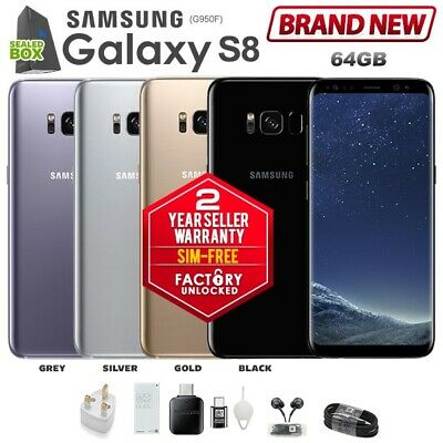 New SIM-FREE Unlocked SAMSUNG Galaxy S8 G950F 4GB/64GB Black Grey Android Phone