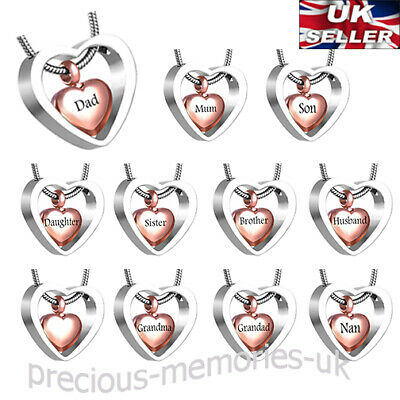 Family Rose Gold Heart Cremation Ashes Urn Necklace Memorial Jewellery Pendant