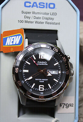 NEW CASIO ILLUMINATOR MENS WATCH MTD-1079 100M rOSE GOLD ACCENTS DAY DATE O4@