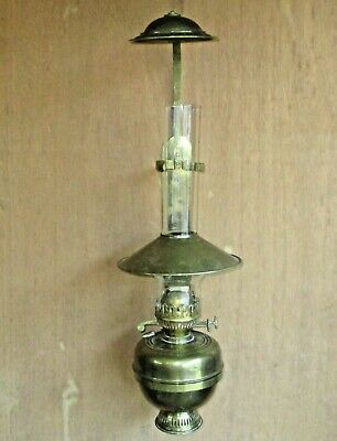 "Vintage Unique Ornate Brass Dual Wick Wall Hanging/Table Top Oil Lamp 24"" Tall"