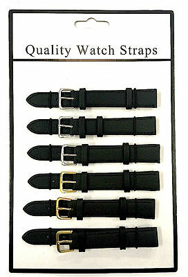 Brand New 6 X Wholesale Job Lot Genuine Black Leather Watch Straps 6mm To 24mm
