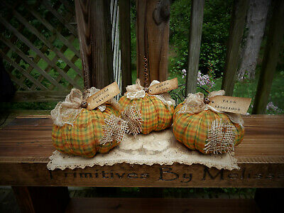 FoLk Art PrimiTive FALL HaLLoWeen CounTry RusTic GruNgy PUMPKIN DecoraTions TaGs