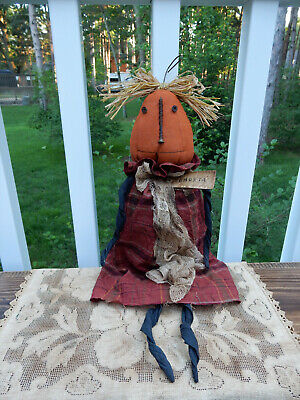 FoLk Art PrimiTive FaLL HaLLoWeen Farmhouse Barn CounTry PUMPKIN DOLL DecoraTion