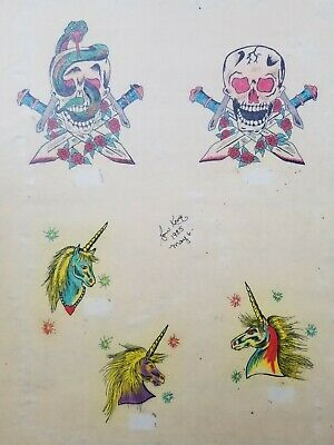 vintage '85 original signed kevie biker tattoo flash skull dagger unicorn 11x14