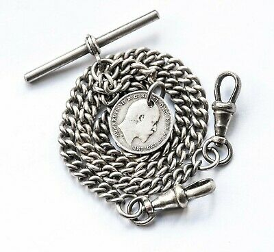 Antique Double Albert Pocket Watch Chain + 1908 Silver Coin Fob