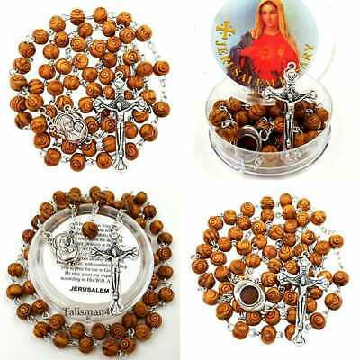 BLESSED CATHOLIC ROSARY NECKLACE OLIVE Wood Carved Beads W Jerusalem Soil & Cros