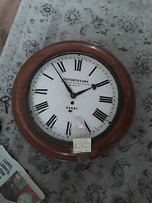 VICTORIAN CHAIN DRIVEN FUSEE ROUND DIAL WALL CLOCK John Smith's derby