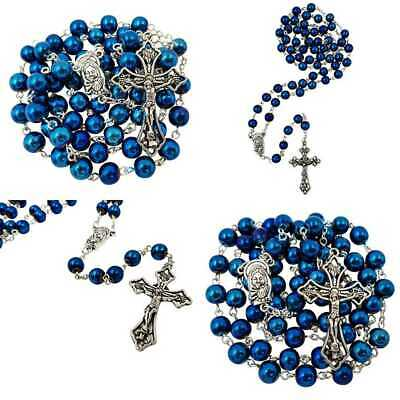 8Mm BLUE Hematite Beads Catholic Rosary Necklace Virgin Mary Medal Cross Cr