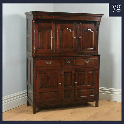Antique Welsh Georgian Oak Cwpwrdd Deuddarn Housekeepers Cupboard (Circa 1750)