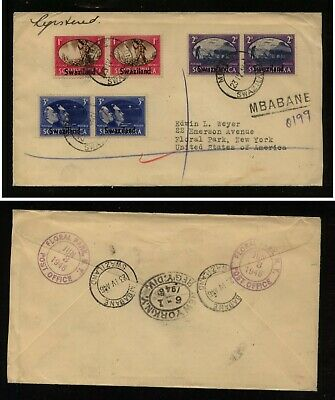 Swaziland stamps on cover to  US  registered    KEL043