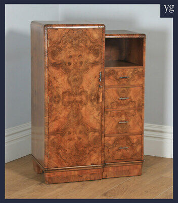 Antique English Art Deco Burr Walnut Tallboy Compactum Wardrobe Chest of Drawers