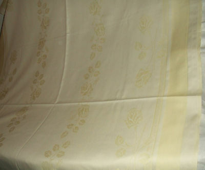 Vintage Pale Summer Yellow Damask Rose & Floral Pattern Tablecloth 40 X 62