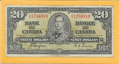 1937 Bank Of Canada 20 Dollar Bill H/E1794319