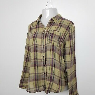 Free People Womens Plaid Cotton Flannel Shirt Medium