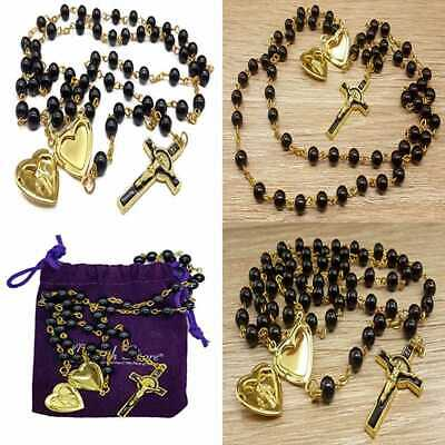 a8482bd2f4e Black Rosary Glass Beads Catholic Necklace St Benedict Chaplet Heart Locke