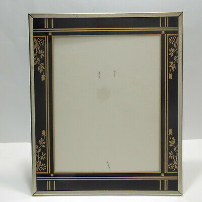 Vtg Art Deco Reverse Painted Glass Picture Frame Black Gold Flowers 10x12