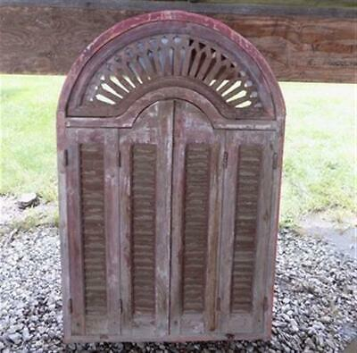 5' Vintage Window Frame with Shutter Doors Architectural Salvage Window Decor e