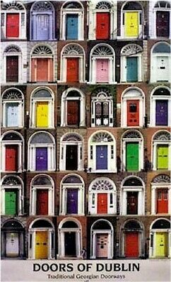 Traditional Georgian DOORS OF DUBLIN Irish Poster 35 x 21 inches