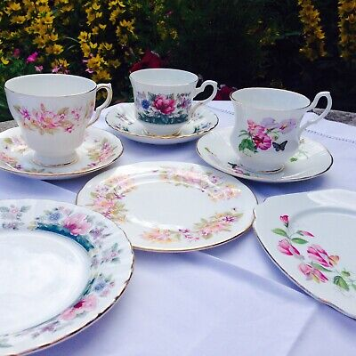 Vintage China Tea Cups Saucers & Side Plates x 3 Mismatched Pinks Party Wedding