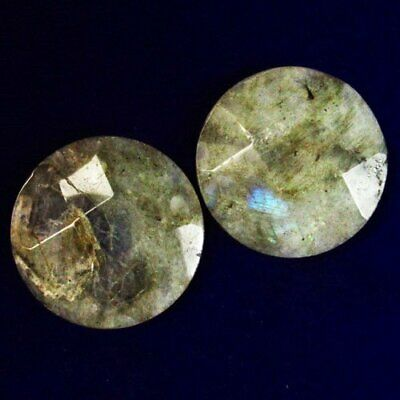 2pcs Faceted Natural Labradorite Round CAB CABOCHON 30x6mm B14713