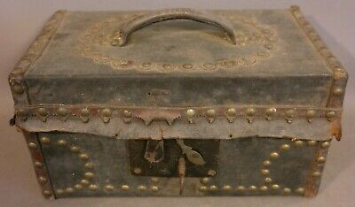 19thC Antique PRIMITIVE Old LEATHER & BRASS TACK dec SKELETON KEY LOCK Box CHEST