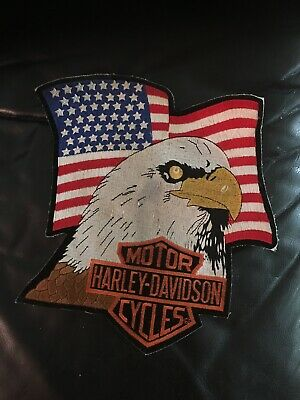"Harley Davidson Rare Vintage Large ""H-D US Flag Eagle"" Emblem Patch Official"