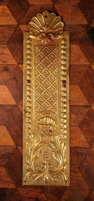 1x Vintage French Brass Door Finger Scratch Push Plate Rococo Chateau Chic X