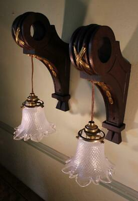 FAB VINTAGE Pair French Wooden Brass Wall Lights Lamps Chateau Chic Glass Shade