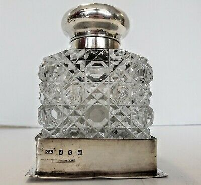 Heavy Cut Glass Inkwell With  Sterling Silver Top Andbase. Birminham 1925 Large